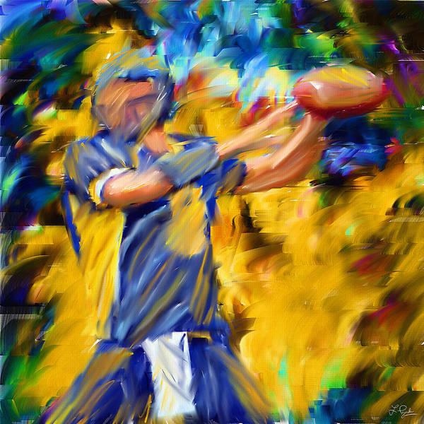 Quarterback Print featuring the digital art Football I by Lourry Legarde