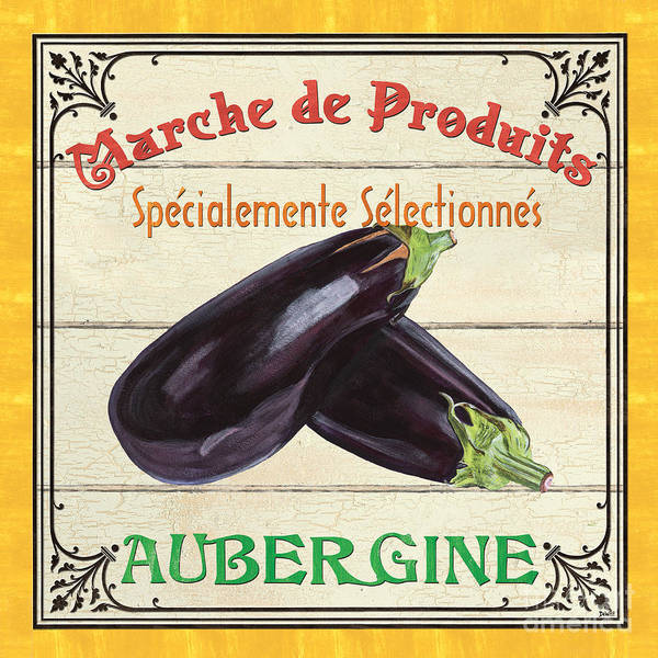 Eggplant Print featuring the painting French Vegetable Sign 3 by Debbie DeWitt