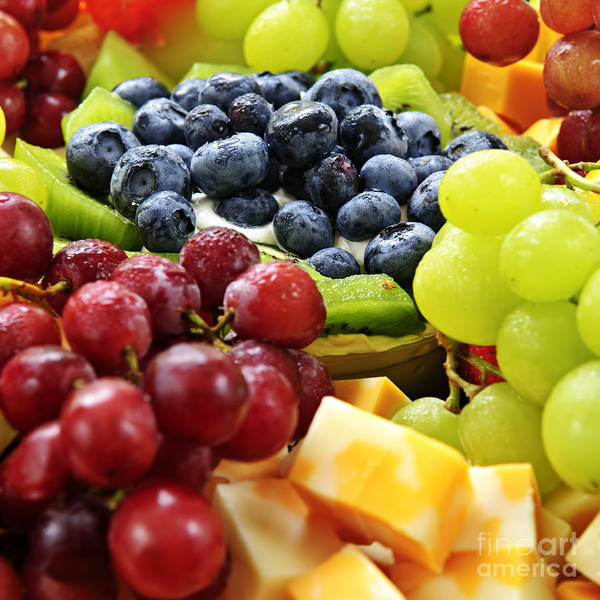 Fruit Print featuring the photograph Fresh Fruits And Cheese by Elena Elisseeva