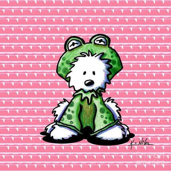Westie Terrier Art Print featuring the digital art Frog Prince Westie Dog by Kim Niles