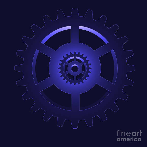 Vector Print featuring the digital art Gear - Cog Wheel by Michal Boubin
