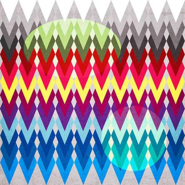 Contemporary Art Print featuring the digital art Geometric Colors by Mark Ashkenazi