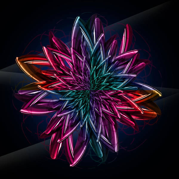 Contemporary Art Print featuring the digital art Geometric Flower by Mark Ashkenazi