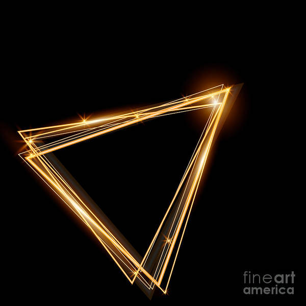 Line Art Print featuring the digital art Gold Triangle Glowing Frame. Abstract by Ttp999
