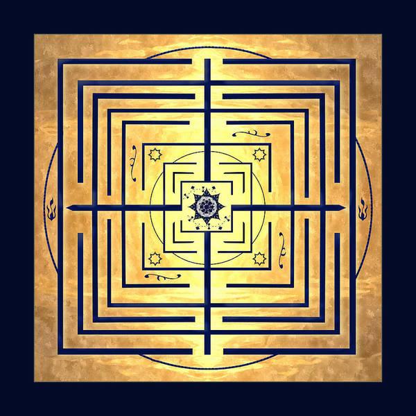Labyrinth Art Print featuring the digital art Golden Knowledge Labyrinth by Deborah Smith