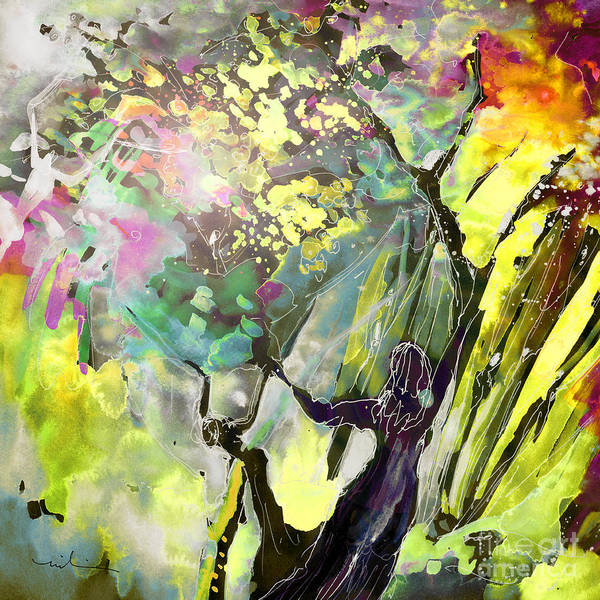 Fantasy Art Print featuring the painting Grace Under Pressure by Miki De Goodaboom