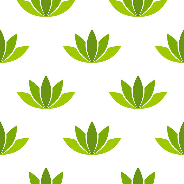 Green Lotus Flower Seamless Pattern Vector Art Print By Azfree