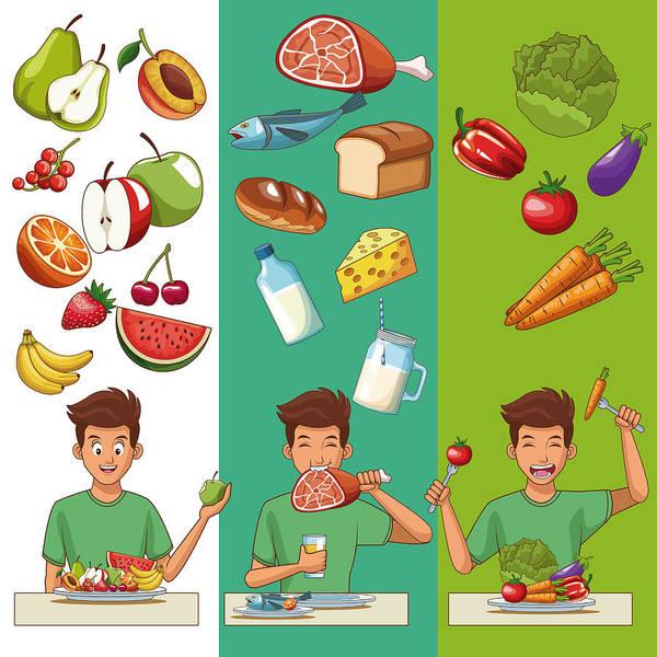 Healthy Food Cartoons Art Print