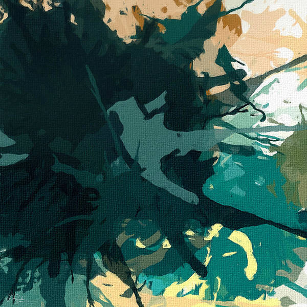 Turquoise Print featuring the painting Heightened Energy by Lourry Legarde