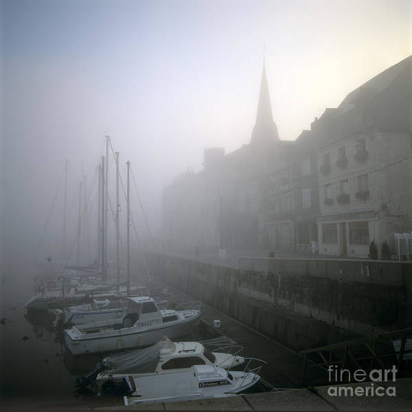 Ambiance Ambient Atmosphere Atmospheric Boat Boats Calvados Day Daylight Daytime During Europe European Exterior Exteriors Filled Fog Foggy France French Full Harbor Harbour Harbour Haze Hazy Honfleur In Mist Mists Misty Mood Mood-filled Moods Nobody Normandy Of Outdoor Photo Photos Port Ports Shot Shots The Art Print featuring the photograph Honfleur Harbour In Fog. Calvados. Normandy. France. Europe by Bernard Jaubert