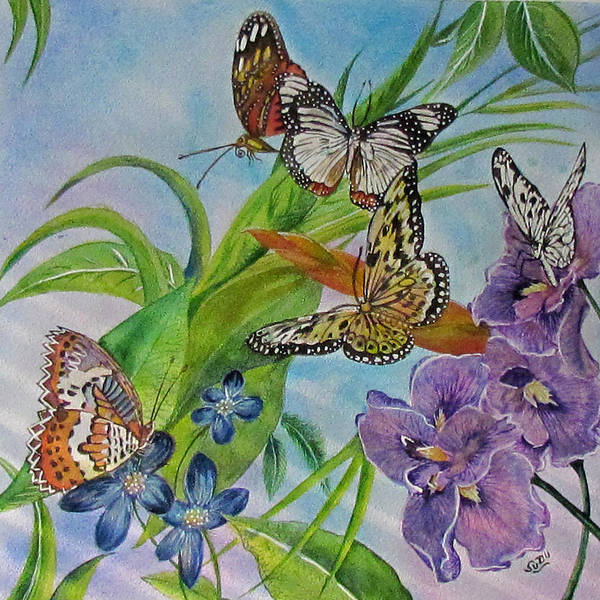 Butterflies Art Print featuring the painting In Flight by Susan Duxter
