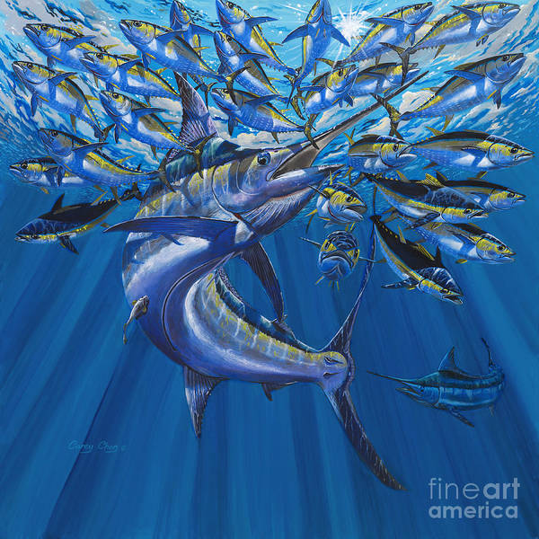Blue Marlin Art Print featuring the painting Intruder Off003 by Carey Chen