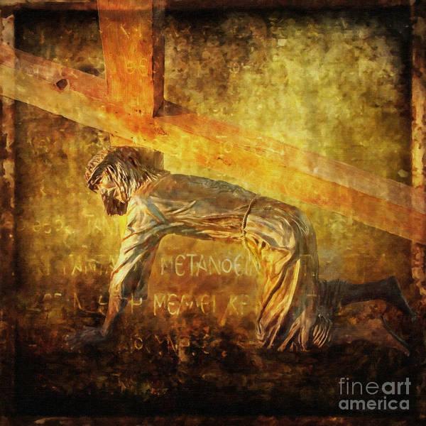 Jesus Art Print featuring the digital art Jesus Falls Again Via Dolorosa 7 by Lianne Schneider