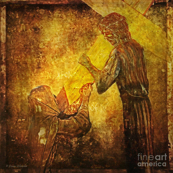 Jesus Art Print featuring the digital art Jesus Meets His Mother Via Dolorosa 4 by Lianne Schneider