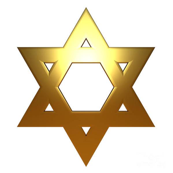 Jewish Star Of David Gold Version Art Print By Shazam Images