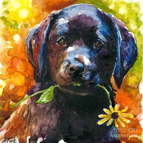 Black Lab Puppy Art Print featuring the painting Just Picked by Molly Poole