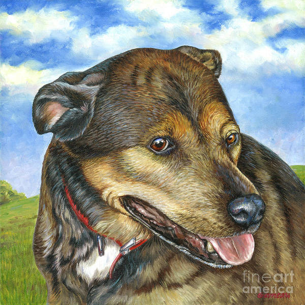 Pittie Art Print featuring the painting Katie by Catherine Garneau