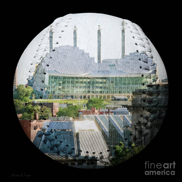 Baseball Art Print featuring the photograph Kauffman Center For The Performing Arts Square Baseball by Andee Design