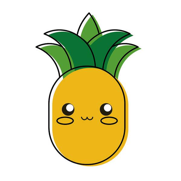 Kawaii Pineapple Vector Illustration Art Print