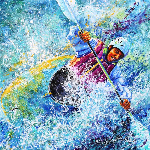 Sports Art Art Print featuring the painting Kayak Crush by Hanne Lore Koehler