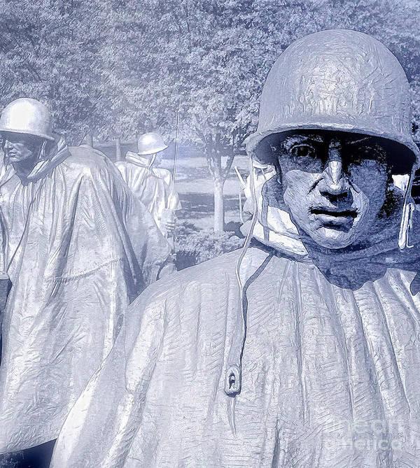 Korean War Memorial Art Print featuring the photograph Korean War Memorial by Nigel Fletcher-Jones