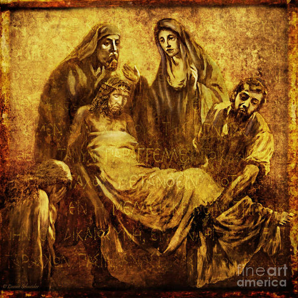 Jesus Art Print featuring the digital art Laid_in_the_tomb Via Dolorosa 14 by Lianne Schneider
