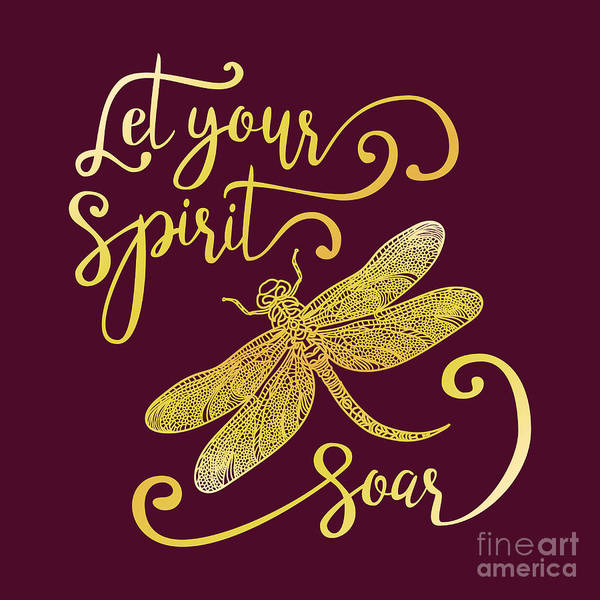 Typography Art Print featuring the digital art Let Your Spirit Soar. Hand Drawn by Trigubova Irina