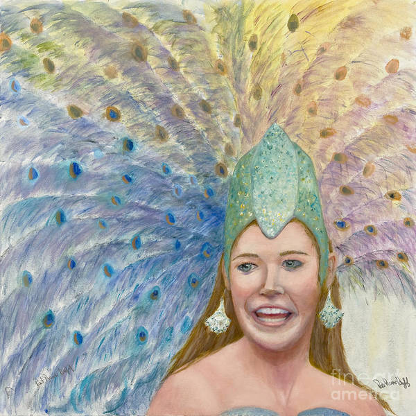 Peacock Headress Art Print featuring the painting Lindsay Carnival Queen by Patricia Huff