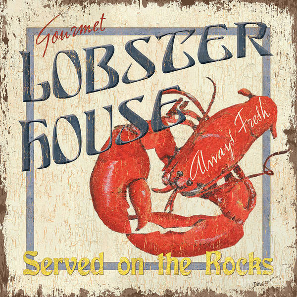 Lobster Art Print featuring the painting Lobster House by Debbie DeWitt