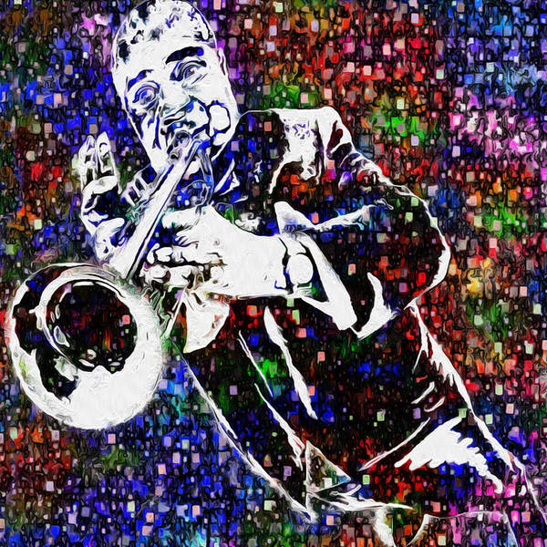 Louis Armstrong Art Print featuring the painting Louie Armstrong by Jack Zulli