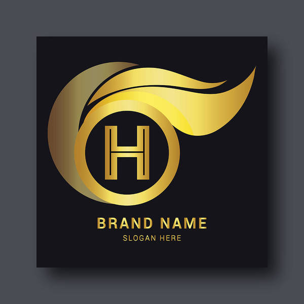 Luxury Letter H Logo Template In Gold Color Royal Premium Logo Template Vector Art Print