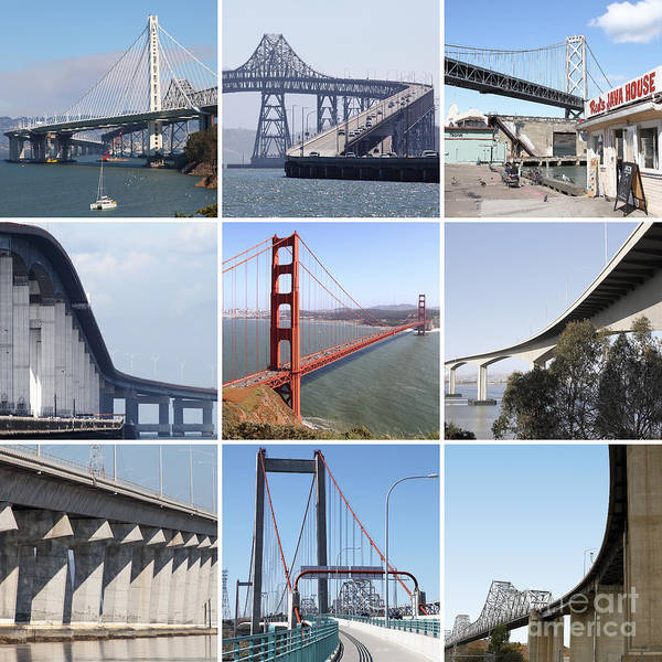 Wingsdomain Art Print featuring the photograph Majestic Bridges Of The San Francisco Bay Area by Wingsdomain Art and Photography