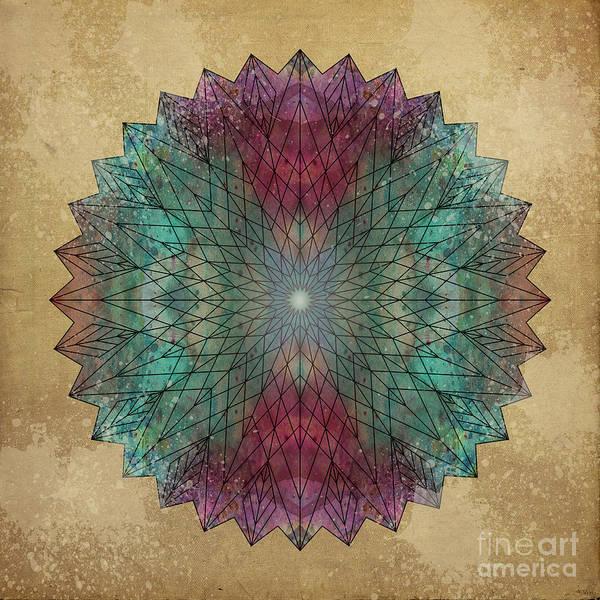 Mandala Print featuring the digital art Mandala Crystal by Filippo B