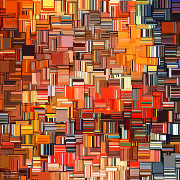 Orange Art Print featuring the digital art Modern Abstract Xxxi by Lourry Legarde