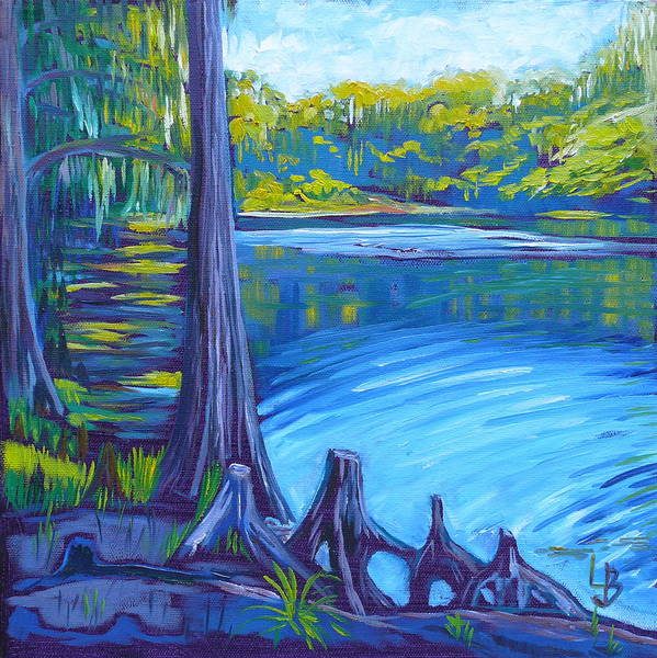 Moss Art Print featuring the painting Moss And Cypress by Linda J Bean