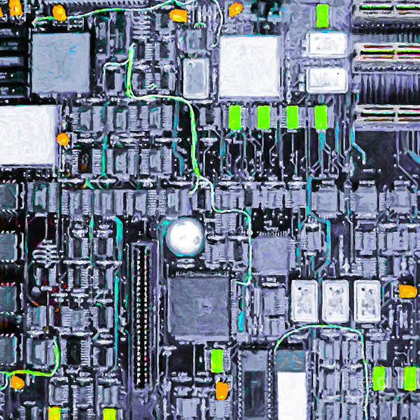 Circuit Board Art Print featuring the photograph Motherboard Abstract 20130716 P38 Square by Wingsdomain Art and Photography