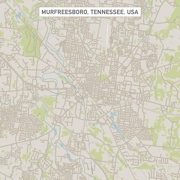 Map Of Us Tennessee.Murfreesboro Tennessee Us City Street Map Art Print By Frankramspott