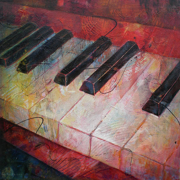 Susanne Clark Art Print featuring the painting Music Is The Key - Painting Of A Keyboard by Susanne Clark
