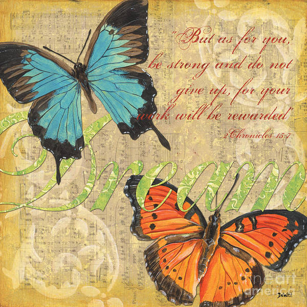 Butterflies Art Print featuring the painting Musical Butterflies 1 by Debbie DeWitt