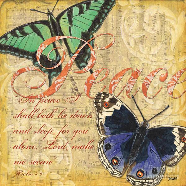 Butterflies Print featuring the painting Musical Butterflies 2 by Debbie DeWitt