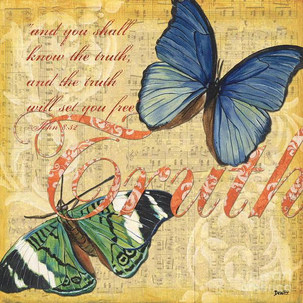 Butterfly Art Print featuring the painting Musical Butterflies 3 by Debbie DeWitt