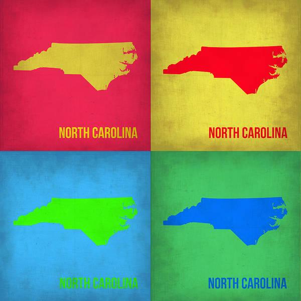 Art Print featuring the painting North Carolina Pop Art Map 1 by Naxart Studio