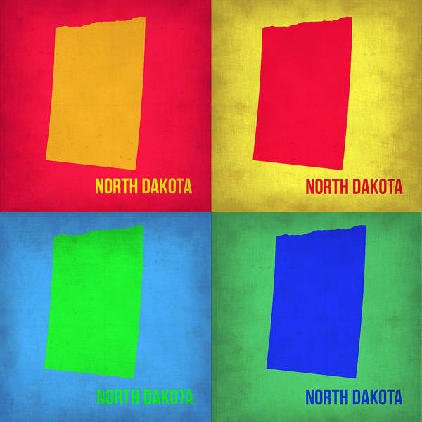 North Dakota Map Art Print featuring the painting North Dakota Pop Art Map 1 by Naxart Studio