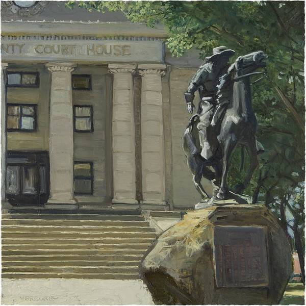 Paul Verburg Art Print featuring the painting On Courthouse Square by Paul VerBurg
