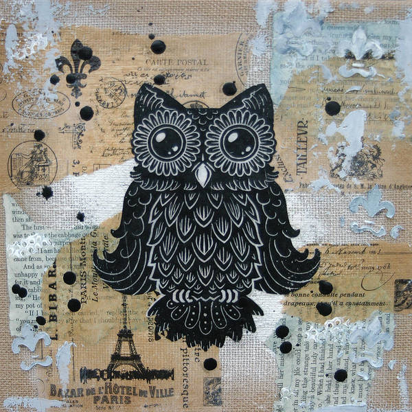 Owl. Hoot Art Print featuring the painting Owl On Burlap1 by Kyle Wood