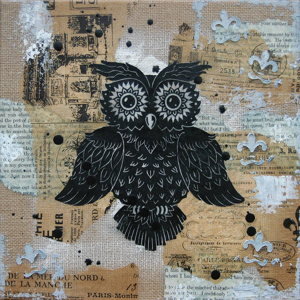 Owl. Hoot Art Print featuring the painting Owl On Burlap2 by Kyle Wood