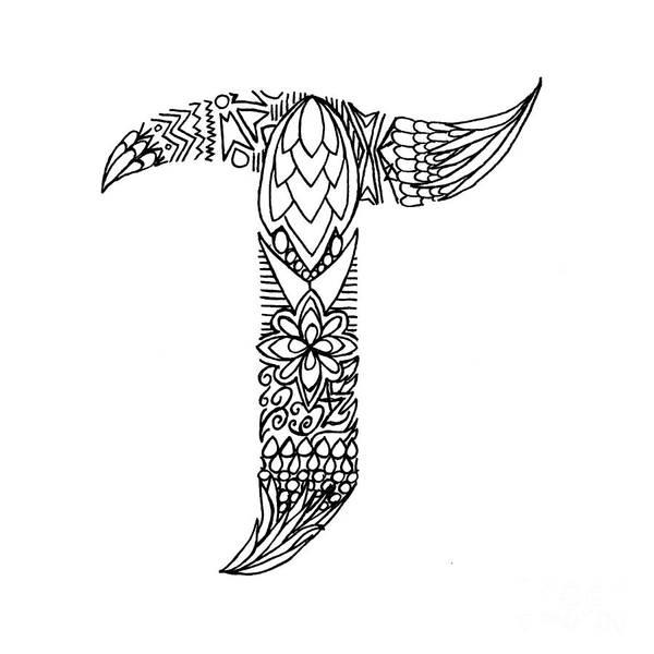 Patterned Letter T Art Print by Alyssa Zeldenrust