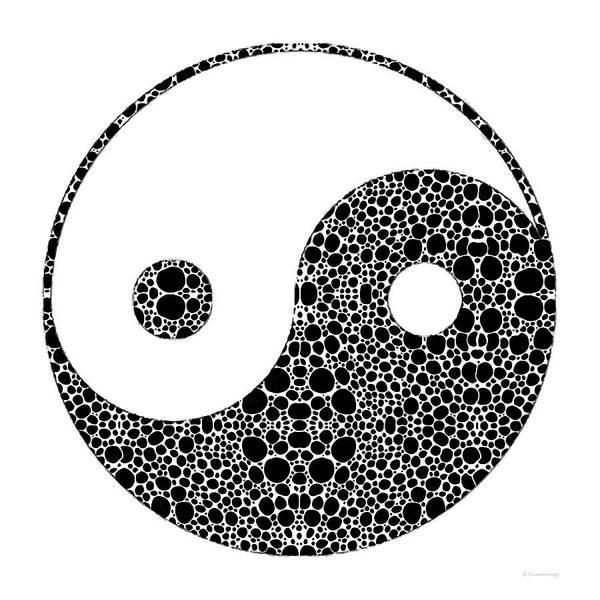 Yin Art Print featuring the painting Perfect Balance 1 - Yin And Yang Stone Rock'd Art By Sharon Cummings by Sharon Cummings