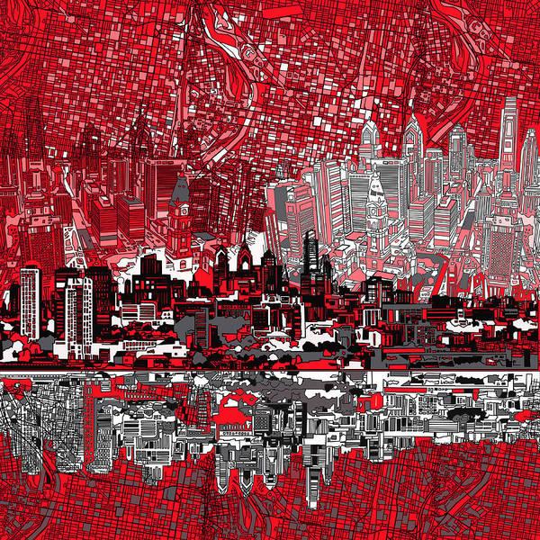 Philadelphia Skyline Art Print featuring the painting Philadelphia Skyline Abstract 4 by Bekim Art