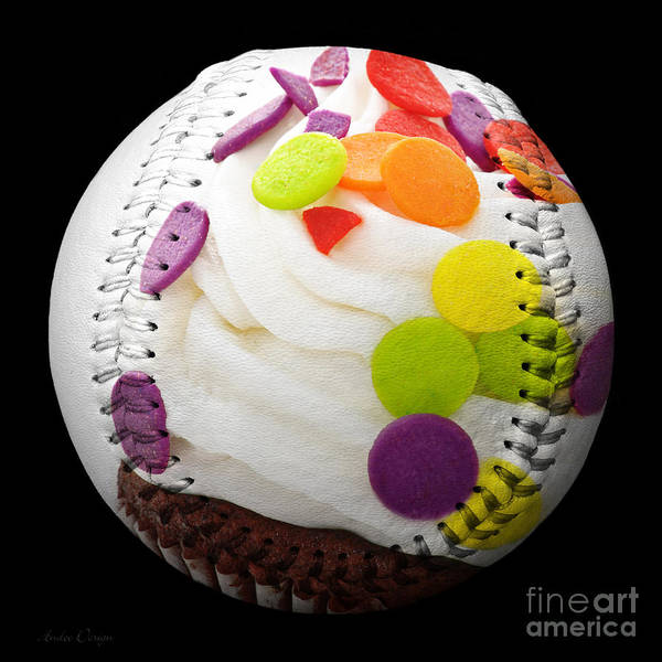 Baseball Art Print featuring the photograph Polka Dot Cupcake Baseball Square by Andee Design